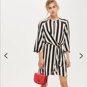 NWOT Topshop PETITE Stripe Knot Front Dress